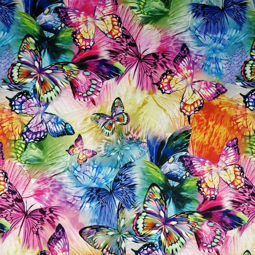 Fs204 Multicolored Rainbow Butterfly Print Print On High Quality Jersey Stretchy Scuba Fabric Sold Per Metre Online Marketplace